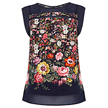 Buy Oasis Filamena Border Top, Multi Blue Online at johnlewis.com