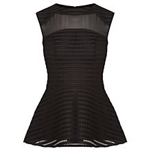 Buy Oasis Stripe Peplum Top, Black Online at johnlewis.com