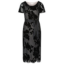 Buy Jacques Vert Floral Devore Silk Blend Dress, Black Online at johnlewis.com