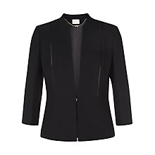 Buy Jacques Vert Crepe Collarless Jacket, Black Online at johnlewis.com