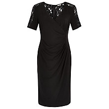 Buy Planet Wrap Front Lace Detail Dress, Black Online at johnlewis.com