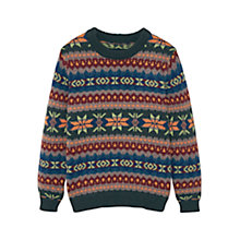 Buy Mango Kids Boys' Fairisle Jumper, Khaki Online at johnlewis.com