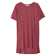 Buy Mango Flecked Linen Blend T-Shirt, Dark Red Online at johnlewis.com