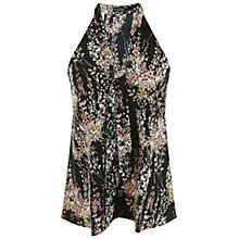 Buy Miss Selfridge Willow Print Tie Neck Shell Top, Black/Multi Online at johnlewis.com