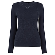 Buy Oasis Cute Cable Knit Jumper, Navy Online at johnlewis.com