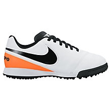 Buy Nike Children's Tiempo Legend Astroturf Shoes, White/Black Online at johnlewis.com