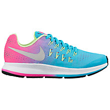 Buy Nike Children's Air Zoom Pegasus 33 Running Shoes, Blue/Pink Online at johnlewis.com