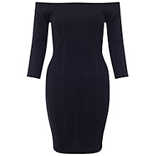 Buy Miss Selfridge Petite Bardot Ribbed Dress, Black Online at johnlewis.com