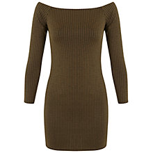 Buy Miss Selfridge Bardot Dress, Olive Online at johnlewis.com