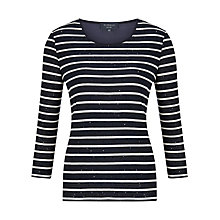 Buy Viyella Petite Sequin Stripe Jumper, Navy Online at johnlewis.com