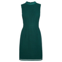 Buy Oasis High Neck Mesh Stripe Dress, Green Online at johnlewis.com