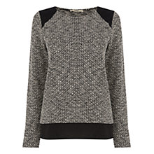Buy Oasis Artisan Woven Back Jumper, Black/White Online at johnlewis.com