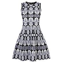 Buy Karen Millen Fit And Flare Jacquard Dress, Black/Multi Online at johnlewis.com