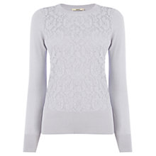 Buy Oasis Foil Lace Front Top, Mid Grey Online at johnlewis.com