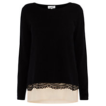 Buy Coast Bronya Lace Knit Top, Black Online at johnlewis.com