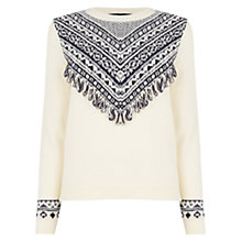 Buy Oasis Huntsman Fringed Jumper, White Online at johnlewis.com