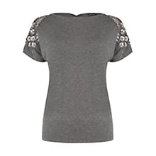Buy Warehouse Floral Embellished T-Shirt, Light Grey Online at johnlewis.com