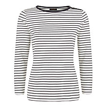 Buy Jaeger Breton Stripe Top, Ivory/Navy Online at johnlewis.com