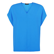 Buy Jaeger V-Neck Crepe Top, Blue Online at johnlewis.com