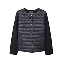 Buy Violeta by Mango Mixed Quilted Jacket, Black Online at johnlewis.com