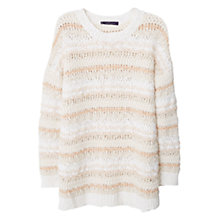Buy Mango Cotton Blend Stripe Sweater, Nude Online at johnlewis.com