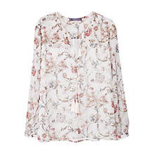 Buy Violeta by Mango Floral Print Blouse, Pastel Pink Online at johnlewis.com