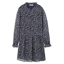 Buy Mango Frill Detail Print Dress, Black Online at johnlewis.com