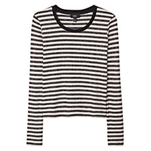 Buy Mango Metallic Striped T-shirt, Gold Online at johnlewis.com