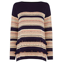 Buy Oasis Fairisle Stripe Jumper, Navy Online at johnlewis.com
