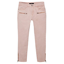 Buy Mango Cropped Skinny Trousers, Pastel Pink Online at johnlewis.com