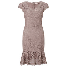 Buy Bruce by Bruce Oldfield Lace Fluted Hem Dress, Caramel Online at johnlewis.com