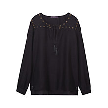 Buy Violeta by Mango Cord Studs Blouse, Black Online at johnlewis.com