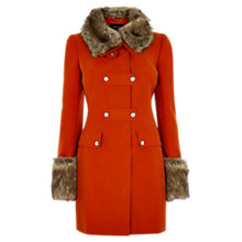 Buy Karen Millen Posh Faux Moleskin Coat, Orange Online at johnlewis.com