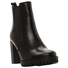 Buy Dune Pellie Block Heeled Ankle Boot, Black Leather Online at johnlewis.com