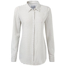 Buy Pure Collection Dawson Washed Silk Blouse, Navy Fine Stripe Online at johnlewis.com