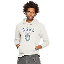 Buy Denim & Supply Ralph Lauren Faded Logo Hoodie, Granite Heather Online at johnlewis.com