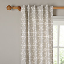 Buy House by John Lewis Geometric Hidden Tab Top Unlined Curtains, Smoke Online at johnlewis.com