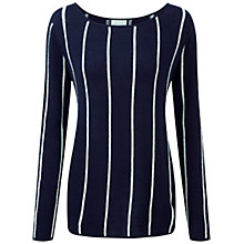 Buy Pure Collection Edgecot Gassato Cashmere Stripe Jumper, Navy/Soft White Online at johnlewis.com