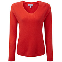Buy Pure Collection Hanbury Gassato Cashmere Chevron Rib Jumper, Poppy Red Online at johnlewis.com