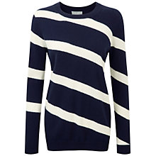 Buy Pure Collection Fernbrook Cashmere Boyfriend Jumper, Navy/Soft White Online at johnlewis.com