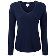 Buy Pure Collection Glendower Gassato Cashmere Chevron Rib Jumper, Navy Online at johnlewis.com