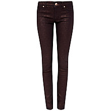 Buy Ted Baker Migle Glitter Jacquard Skinny Jeans, Brick Red Online at johnlewis.com