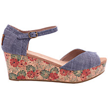 Buy TOMS Platform Wedge Heeled Sandals, Blue Online at johnlewis.com