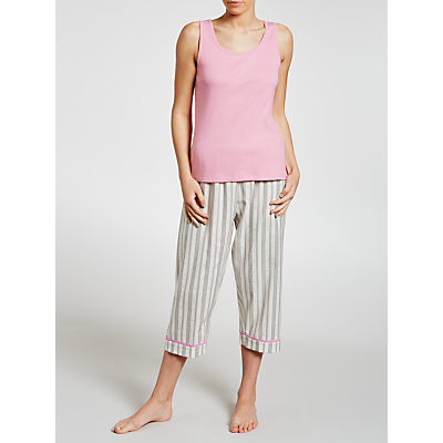 John Lewis Dobby Heart Crop Pyjama And Vest Set, Rose