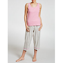 Buy John Lewis Dobby Heart Crop Pyjama And Vest Set, Rose Online at johnlewis.com