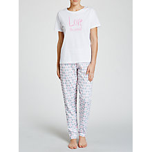 Buy John Lewis Love The Weekend Pyjama Set, White/Pink Online at johnlewis.com