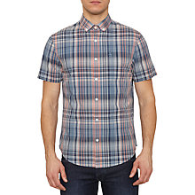 Buy Original Penguin Checked Short Sleeve Shirt, Dark Denim Online at johnlewis.com