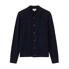 Buy Jigsaw Merino Trucker Knit Jacket, Navy Melange Online at johnlewis.com