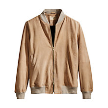 Buy Levi's Made & Crafted Suede Bomber Jacket, Beige Online at johnlewis.com