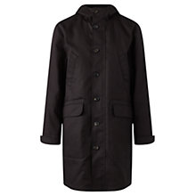 Buy Jigsaw British Millerain Hooded Mac, Black Online at johnlewis.com